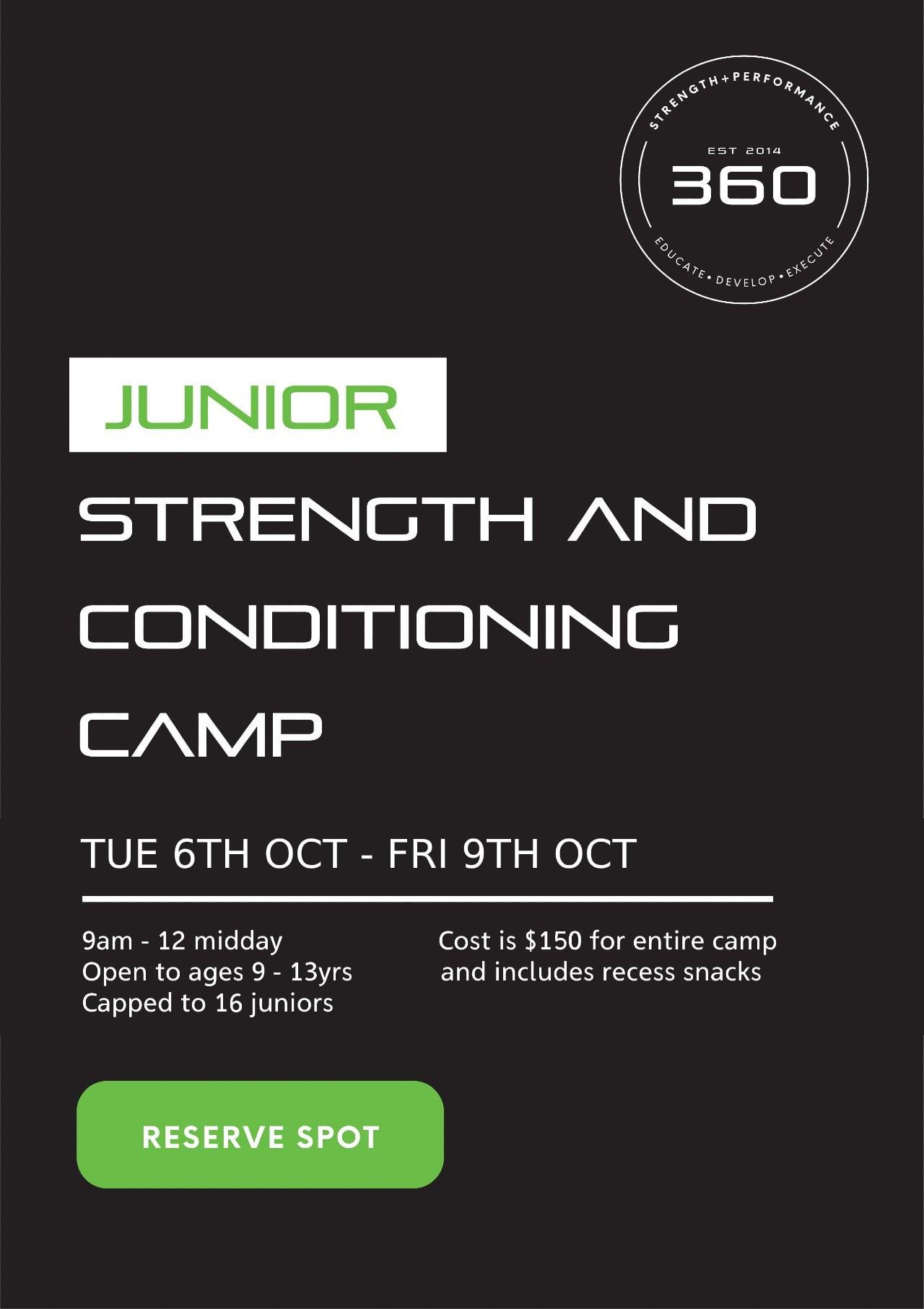 360 Strength + Performance Juniors Camp...
