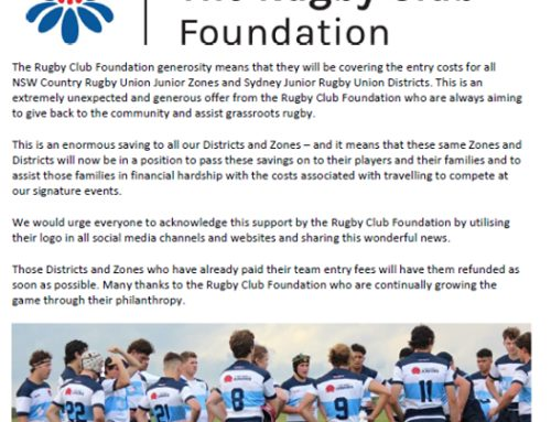 Big Thank You to The Rugby Club Foundation